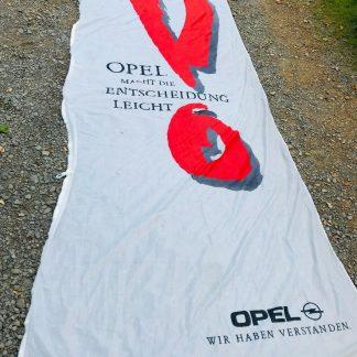 ORIGINAL OPEL Fahne ,, Opel macht die Entscheidung leicht ,, Werbung Reklame