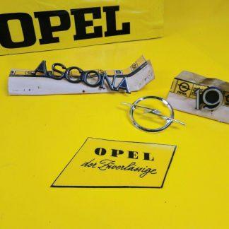 NEU + ORIG Opel Ascona A Satz Emblem Chrom Halter Schriftzug 1,9 Kofferdeckel