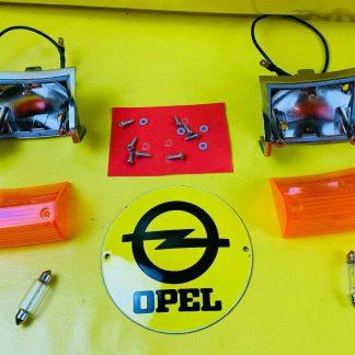 NEU Satz Blinker Opel Rekord C / Commodore A Gehäuse + Glas + Dichtung + Birne
