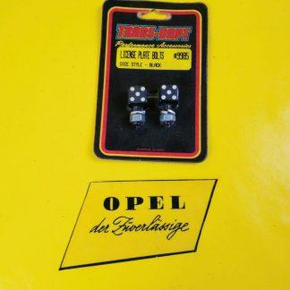 NEU / NOS UNIVERSAL Oldtimer Nummerschild Schrauben Würfel Schwarz Dice Style