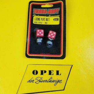 NEU / NOS UNIVERSAL Oldtimer Nummerschild Schrauben Rot Würfel Dice Style