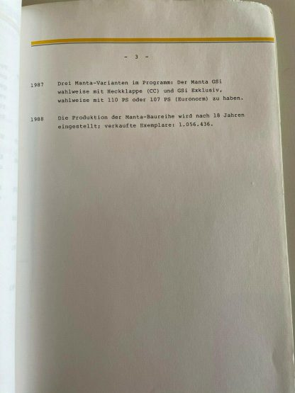ORIGINAL OPEL Broschüre + Werksfotos Einführung Manta B Rückblicke Manta A
