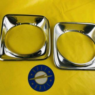 NEU + ORIGINAL Opel Ascona A Limousine Kombi Chrom Paar Zierring Scheinwerfer