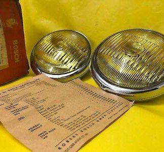 NEU + ORIGINAL Bosch Paar Nebelscheinwerfer gelb Oldtimer Opel NOS
