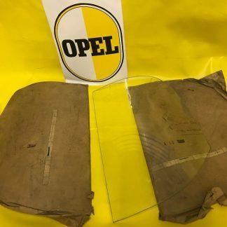 NEU + ORIGINAL OPEL Kapitän '54 / '55 SATZ Seitenscheiben hinten GEWÖLBT Scheibe