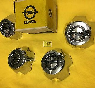 NEU ORIG OPEL Nabenkappen in Chrom mit Emblem f. Commodore B Coupe Limousine