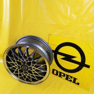NEU + ORIG GM Opel Kadett E Ascona C Alufelge Felge Speichen anthrazit + silber