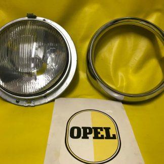 NEU + ORIGINAL OPEL Olympia Rekord P1 Scheinwerfer + Chrom Zierring NOS P 1