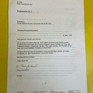 ORIGINAL Opel Frontera Presseinformation Aktuelle Technik bei Motoren Fahrwerk